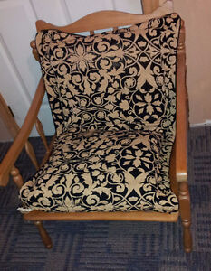 Vintage solid wooden lounge chair with black/gold accent cushion London Ontario image 1