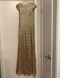 Show stopping gold bridesmaid dress