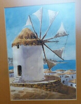 1976 Sofianopoulos Watercolor Windmill Mykonos Island Greece Framed Signed - $155.00