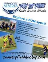 Try field hockey for FREE!  Age 7- Adult