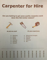 Carpentry services availaable