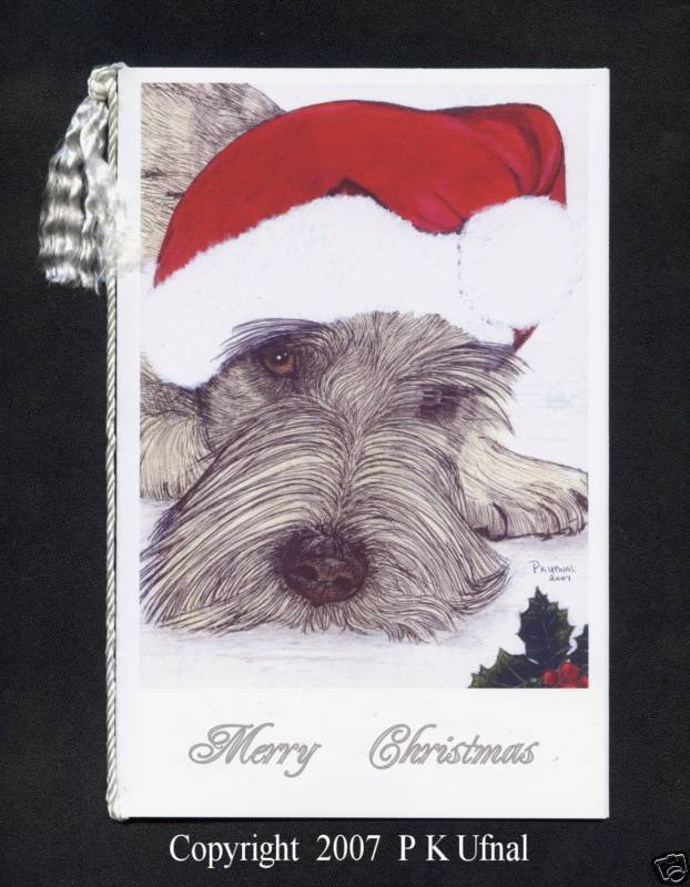 Paint&Ink Dog Art,Schnauzer Christmas Cards,byP K Ufnal