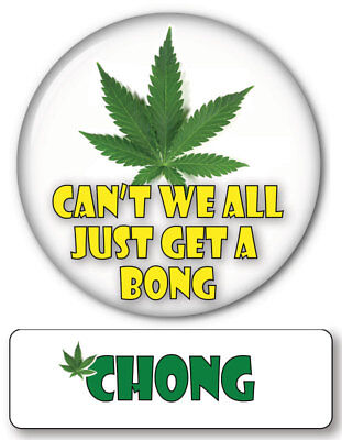 CHONG OF CHEECH & CHONG MAGNET NAME BADGE & WEED BONG BUTTON HALLOWEEN COSTUME  - Chong Halloween Costume