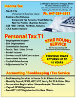 INCOME TAX PERSONAL/CORPORATE UP TO 10 YEARS HST BUSINESS REGIST