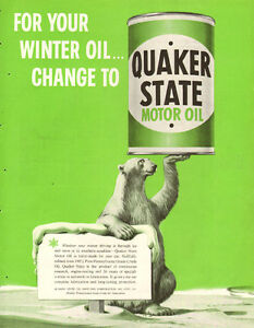 1953 full-page color magazine ad for Quaker State Motor Oil