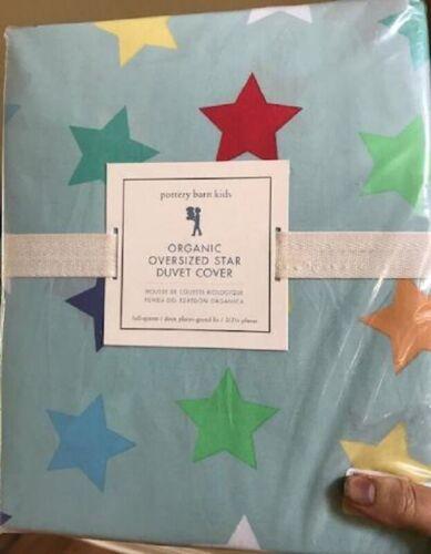 Pottery Barn Kids Oversized Star Duvet Cover Set Blue Queen 2 Standard Shams 3pc