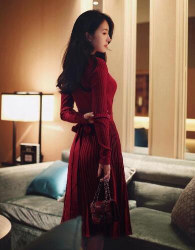 Купить Unbranded - Korean Sexy Womens V-neck Long Sweater Dress Slim Fit Cardigan Clubwear Skirts