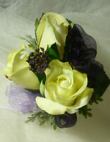 Eggplant / Purple Wedding Or Whatever Occasion Corsage Flowers.