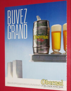 FRENCH 1986 OBERNAI BLONDE BEER VINTAGE AD - ANONCE BIERE RETRO