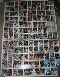 4 sheets 90-91 OPC O-Pee-Chee Hockey Uncut Sheet 132 Cards
