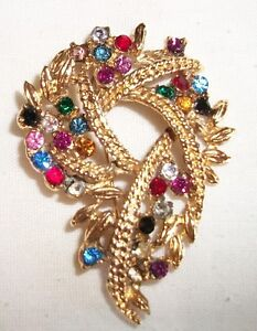 Vintage Gold Tone and Multi-Colored Rhinestone Brooch