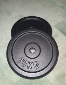 "20 kg. 2 x 10kg weights plates for standard 1"" bar"