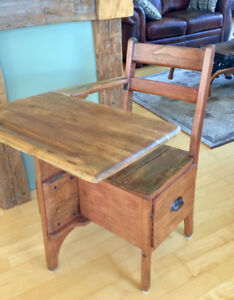 wooden school desk with attached chair