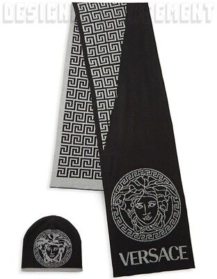 VERSACE wool blend Black & Gray GREEK KEY MEDUSA scarf & hat Set NIB BOXED Auth