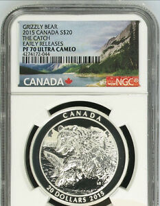 1 oz. Fine Silver Coin – Grizzly Bear: The Catch Graded PF70 London Ontario image 1