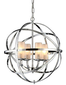 "Whse of Tiffany RL8045 Qadira 4-Light Chandelier, 18"", Chrome"