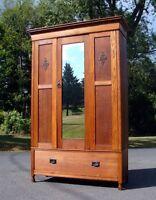Antique Oak Wardrobe Circa 1890
