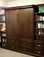 Murphy Bed (queen)/ Office Desk and Cabinets (solid wood)CUSTOM