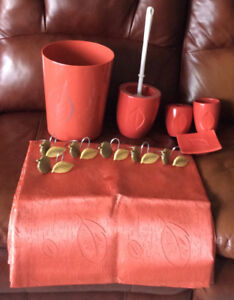 TERRACOTTA COLORED BATHROOM SHOWER CURTAIN/ACCESSORIES FOR SALE