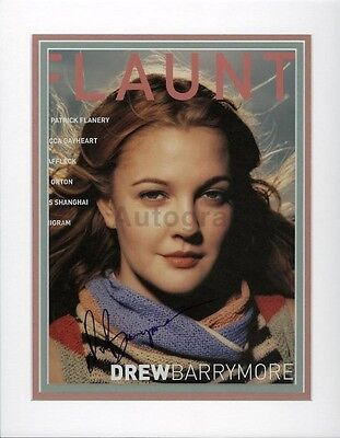 Drew Barrymore   American Film Actress   Authentic Autographed Matted Display