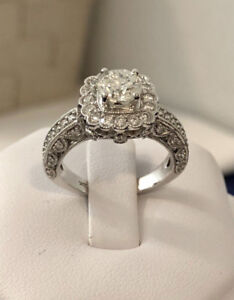 18k gold Halo 2.01ct. diamond engagement ring/Certified $12,100
