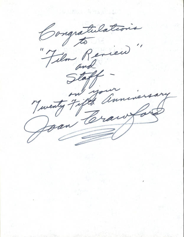 JOAN CRAWFORD - AUTOGRAPH NOTE SIGNED