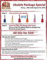 AUGUST SPECIAL:  Ukulele with lessons special...  for only $50!