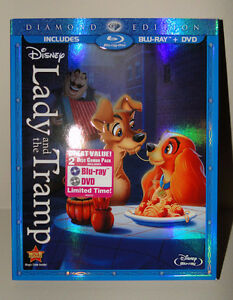 New, Sealed, Authentic Disney Lady and the Tramp Bluray and DVD
