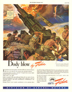 1943 full-page magazine military ad for Body by Fisher