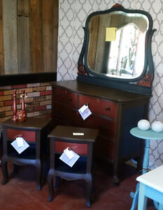 Vintage Serpentine Dresser with Mirror and Night Stands