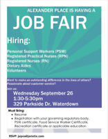 Job Fair Alexander Place 1:30 p.m. - 5:30 p.m.