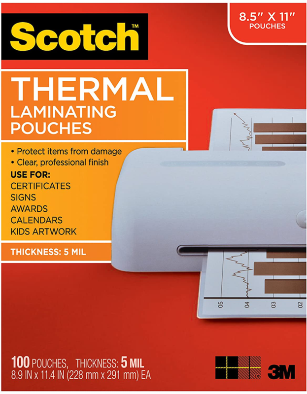 Scotch Letter Size Thermal Laminating Pouches 5 mil 11 1/2 x