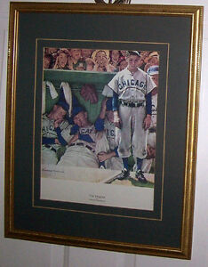 The Dugout 11 X 15 Print, Matted and Framed by Norman Rockwell