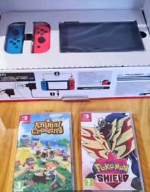 Nintendo Switch Neon Console (BNIB) + 2 Games