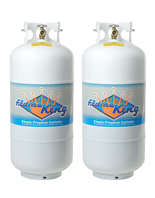 Twin Pack 40 LB Propane Cylinder Refillable Steel LPG Tank with OPD Valve ()