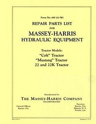 Massey Harris Colt Mustang 22 K Hydraulic Parts Manual