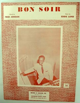 (EARL GRANT Sheet Music BON SOIR Criterion Publ. 50's JAZZ POP VOCAL Soul)