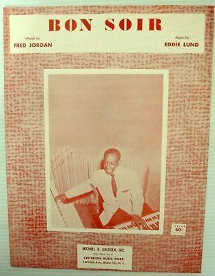 (EARL GRANT Sheet Music BON SOIR Criterion Publ. 50's JAZZ POP VOCAL Soul)