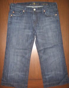 7 for all mankind wide leg crop jeans, size 27