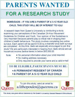 RECRUITING PARENTS FOR RESEARCH STUDY, WE PAY $15.00!