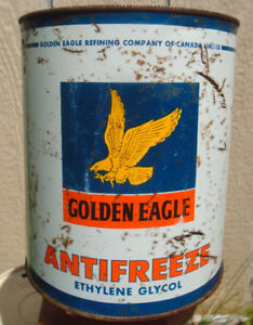 RARE 1960's VINTAGE GOLDEN EAGLE ANTI-FREEZE IMPERIAL GALLON CAN