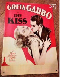 The Kiss (1929 Film) Ad with Greta Garbo Metal Plate/Sign