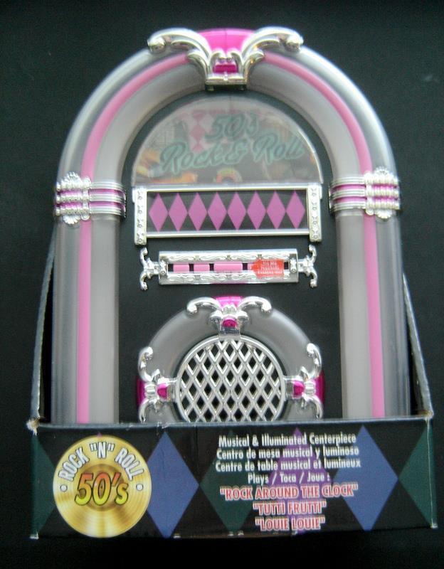 1950s Rock & Roll JUKEBOX Plays 3 Songs Musical Illuminated Centerpiece MIB