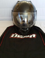 Icon Alliance All Black Glossy Motorcycle Helmet