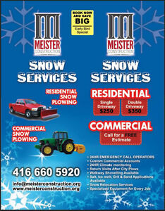 SNOW REMOVAL - RESIDENTIAL & COMMERCIAL - SNOW PLOWING