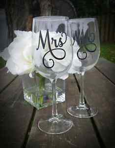 Mr & Mrs Wine Glasses ~ customized for wedding