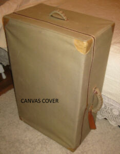 Antique Travel Trunk With Canvas Cover