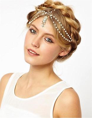 Hot Boho Pearl Gold Wedding Headdress Headband Head Band Crown Chain Headpiece](Gold Crown Headpiece)