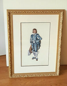 Vintage Petitpoint Needlepoint Picture - Gainsborough's BLUE BOY