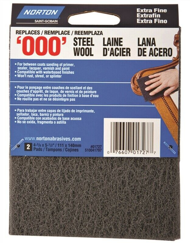 Norton 01727 Steel Wool Pads, Set of 2, #000 Grit, Extra Fine, Gray